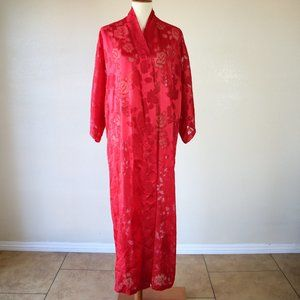Vintage Victoria's Secret Gold Label Red Rose Robe